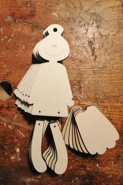 Set 5 Bamboline in legno - da decorare