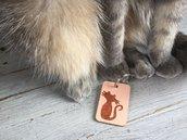 Portachiavi in legno con gatto