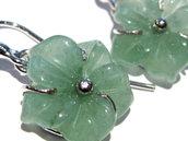 orecchini fiore avventurina verde