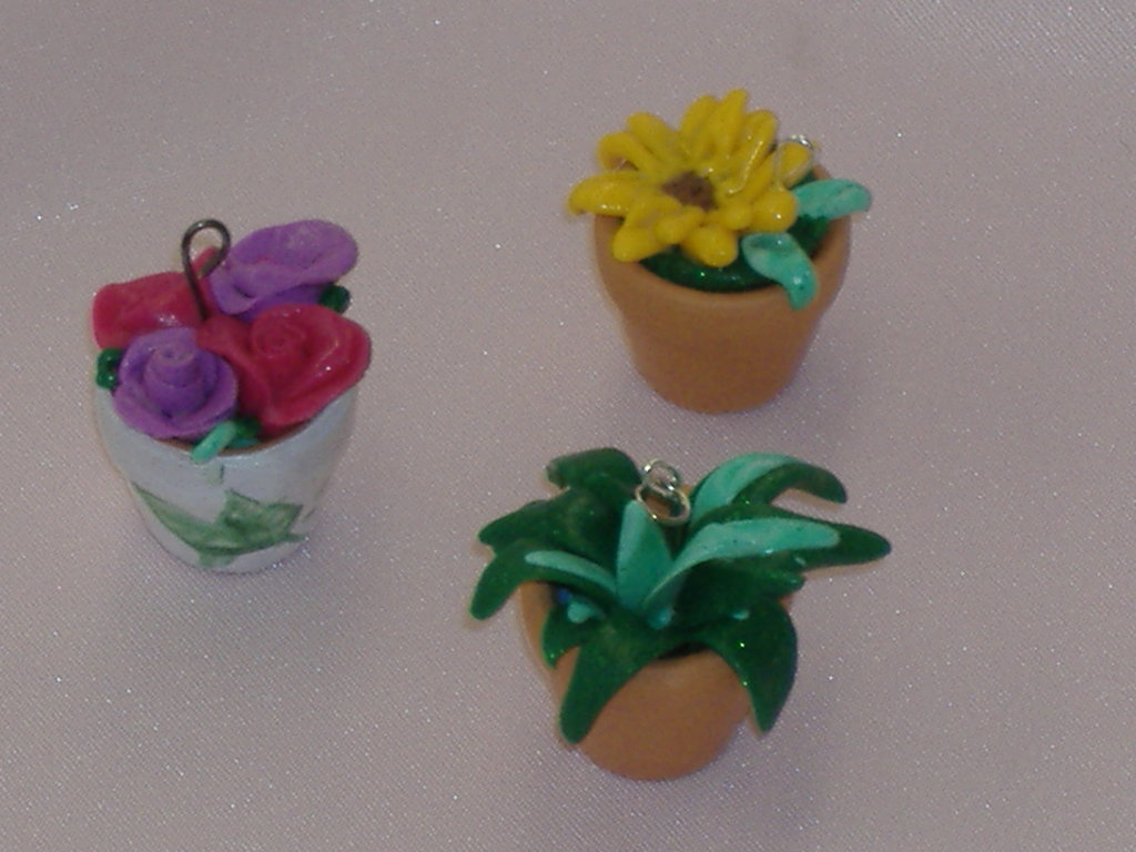 ciondoli vasetti fiori fimo