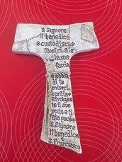 Stampo Tau francescano con preghiera incisa e cordone, cm.12