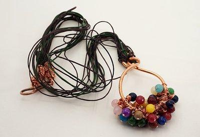ciondolo etnico multicolor pietre dure agata collana lunga multifilo cotone pelle tizianat
