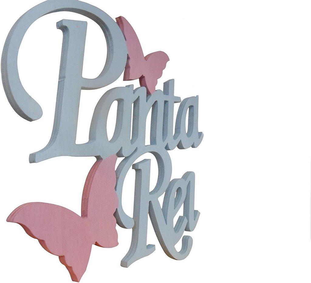 Scritta in legno Panta Rei (tutto scorre) (azzurro con farfalle rosa)