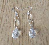 Orecchini pendenti cristallo di rocca e argento