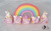 Cake topper compleanno cubi rosa Alice, unicorni e arcobaleno personalizzabile 5 cubi 5 lettere