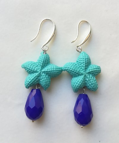 Orecchini stella marina turchese goccia blu elettrico