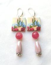Orecchini maiolica siciliana Capri rosa antico cipria lunghi