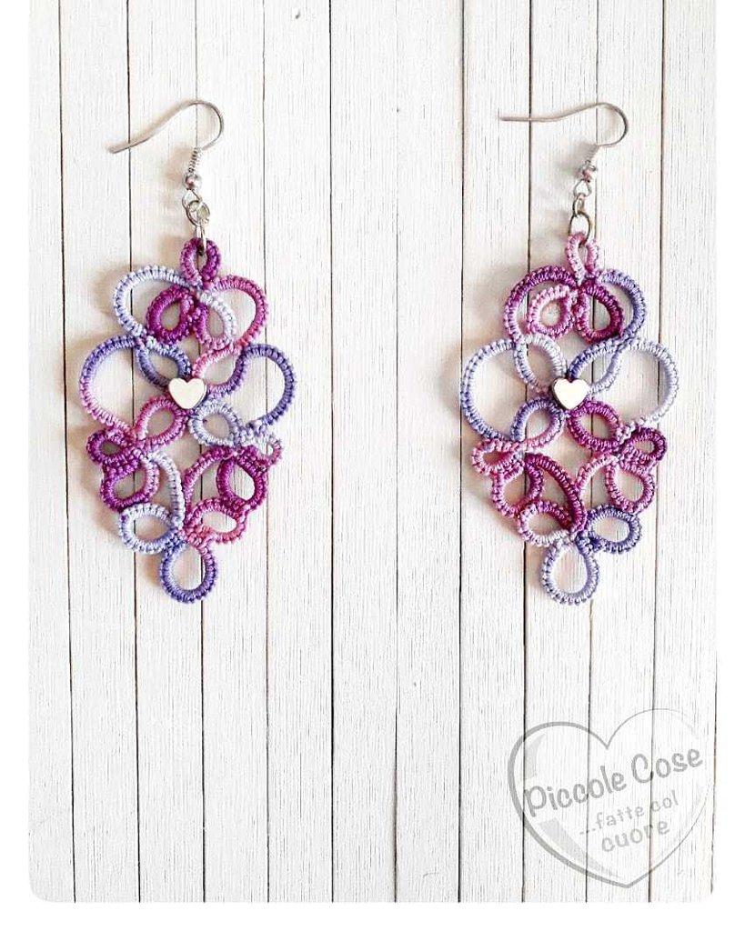 Orecchini rombo lilla e viola variegato con cuore