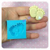 Stampo silicone piedini bebé con cuore battesimo originale artigianale Artitú