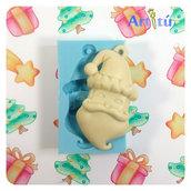 Stampo natalizio Babbo Natale appendibile per gesso, resina, impasti morbidi, stampo flessibile, stampo per decorazioni natalizie