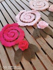 Set di 12 fiori in pannolenci rosa