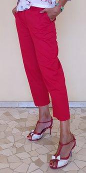 Pantalone rosso donna in rasatello di cotone