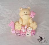 cake topper orsetto con palloncino su cubi nome in scala di rosa 4 lettere bimba compleanno