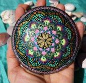 """Pietra mandala per meditazione """"Lotus colorato"""""""