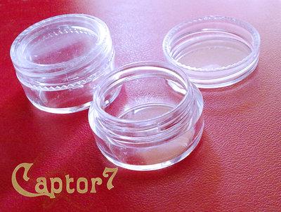 4 barattolini in plastica PVC TRASPARENTI tappo a vite