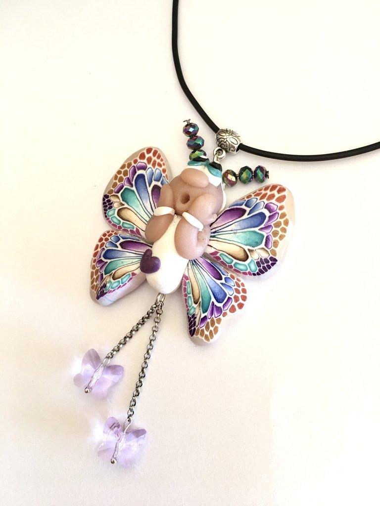 Collana farfalla in fimo