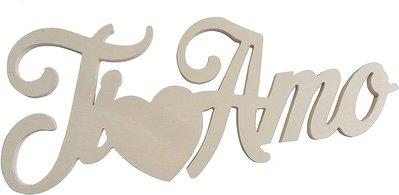 Scritta in legno Ti amo con cuore