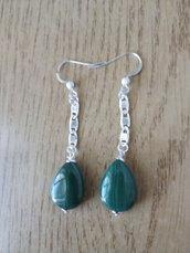 Orecchini pendenti argento e malachite verde