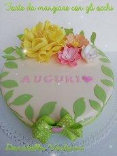 Torta scenografica fommy compleanno fiori creazione misshobby dony e bomboniere
