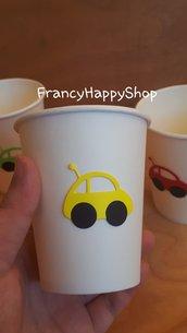 Bicchieri di carta tema macchinina compleanno decorazioni mezzi di trasporto macchina arcobaleno rosso azzurro verde giallo,party macchinine decorazioni per la tavola personalizzate festa bambini