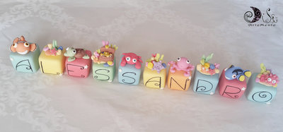 cake topper cubi marino in scala multicolor 10 cubi 10 lettere