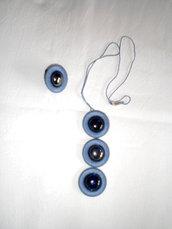 collana ed anello cotone e vetro blu (n°594/595)