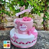 Torta Romantica Fiori e Farfalle fatta a mano