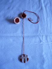 collana ed anello cotone e nastro beige/mattone (n°619)