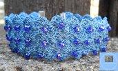 Bracciale fascia azzurro con cristalli