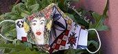 Mascherine in tessuto fantasia  MORI SICILIANI   (stampa donna )