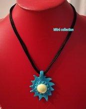 Collana con ciondolo in Fimo turchese a forma di Sole