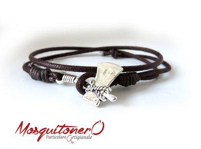 Bracciale ascia uomo in corda polsino doppio giro idea regalo minimal, braccialetto semplice ragazzo accetta