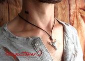 Collana testa del Toro per gli uomini, collana da uomo cavo grigio, argento idee regalo per lui, cowboy paese collana, gioielli uomo, bue