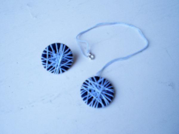 collana con ciondolo ed anello di cotone  azzurro e nastro blu (n°603)