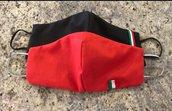 Kit doppio ,mascherina rosso e nera bandiera italia