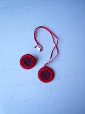 collana con ciondolo ed anello di cotone e sabbia (n°618)