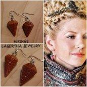Orecchini lagertha vichinghi vikings pietra naturale regalo pendolo Golden Sand