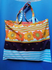 Borsa shopper in cotone fatta mano, bennibag Isabel