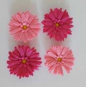 4 calamite magneti margherita color rosa e fuxia fermatenda o da frigo in pannolenci