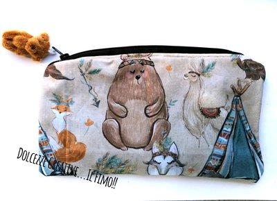 Pochette Borsello -wet bag -chiusura zip - Orso indiano, lama, falco, volpe idrorepellente Portatrucchi, borsello borsa,Assorbenti lavabili