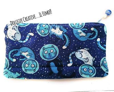 Pochette Borsello -wet bag -chiusura zip - Gatto nello spazio - idrorepellente Portatrucchi, borsello borsa,Assorbenti lavabili