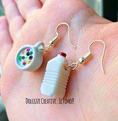 Orecchini colazione - Cartone del latte e tazza con cereali e latte - Idea regalo kawaii - handmade miniature