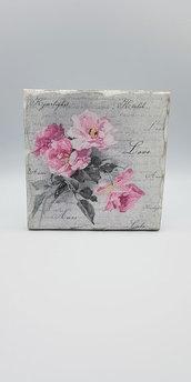 Quadretto in legno  rose