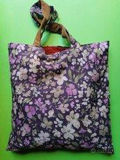borsa shopper in stoffa fiorita, artigianale, bennibag Violetta