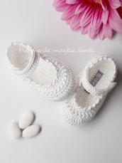 Scarpine alla bebè - scarpine ballerine neonata/bambina fatte a mano - uncinetto