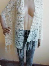 Stola bianco panna in lana mohair