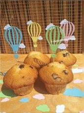 Mongolfiera cupcake toppers colori pastello decorazioni addobbi festa compleanno bimbo bimba tavolo torta stecchini stecconi,decorazioni mongolfiera e nuvole,topper compleanno personalizzato fatto a mano