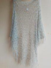 Scialle lana mohair colore grigio perla