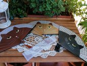 Ventaglio di bambu e carta decorato con gatto
