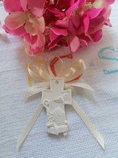 Segnaposto croce icona cresima in gesso ceramico profumato